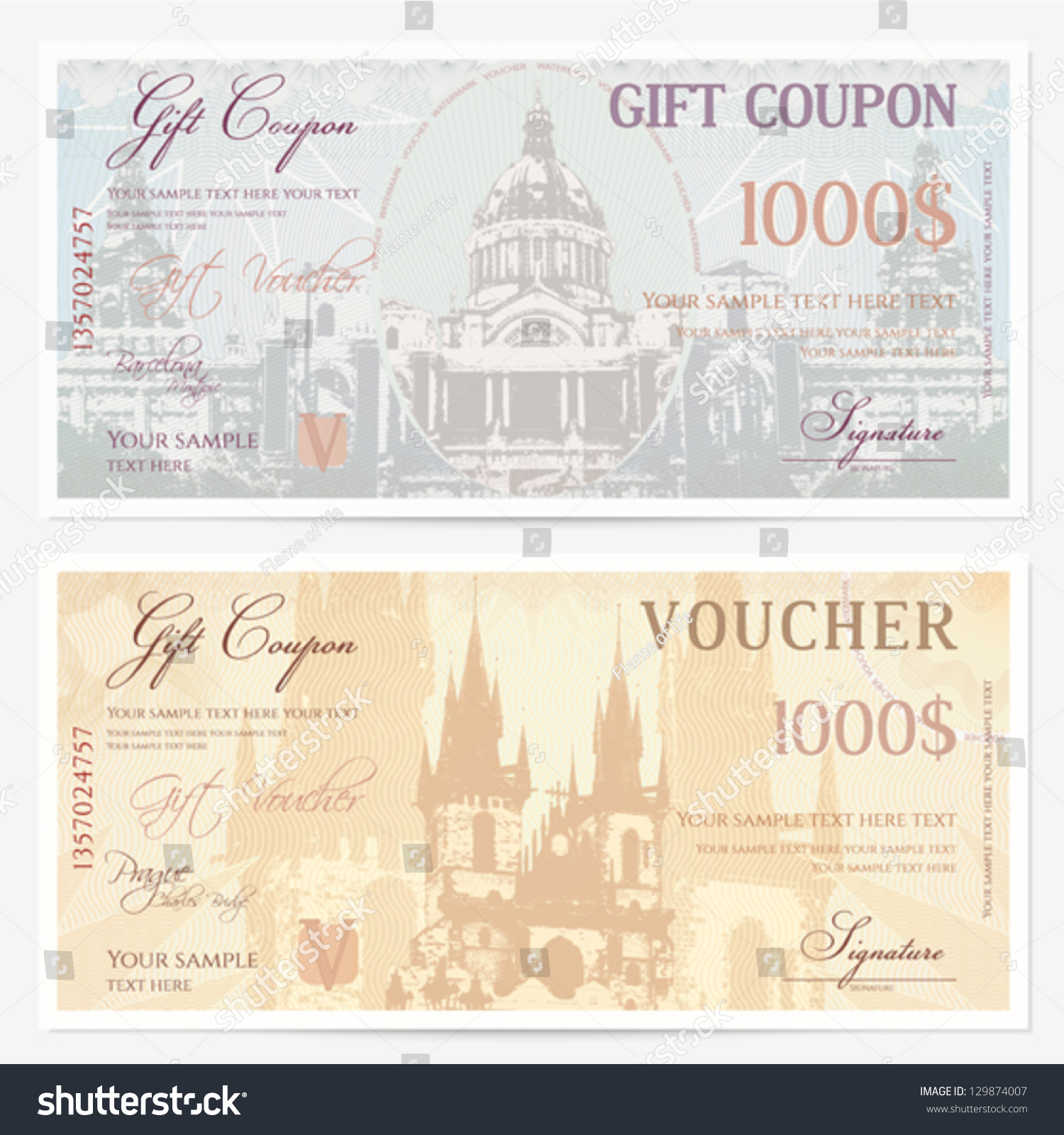 Gift Voucher Template With Guilloche Pattern (watermarks). Backgrounds With  Castell De Montjuic (