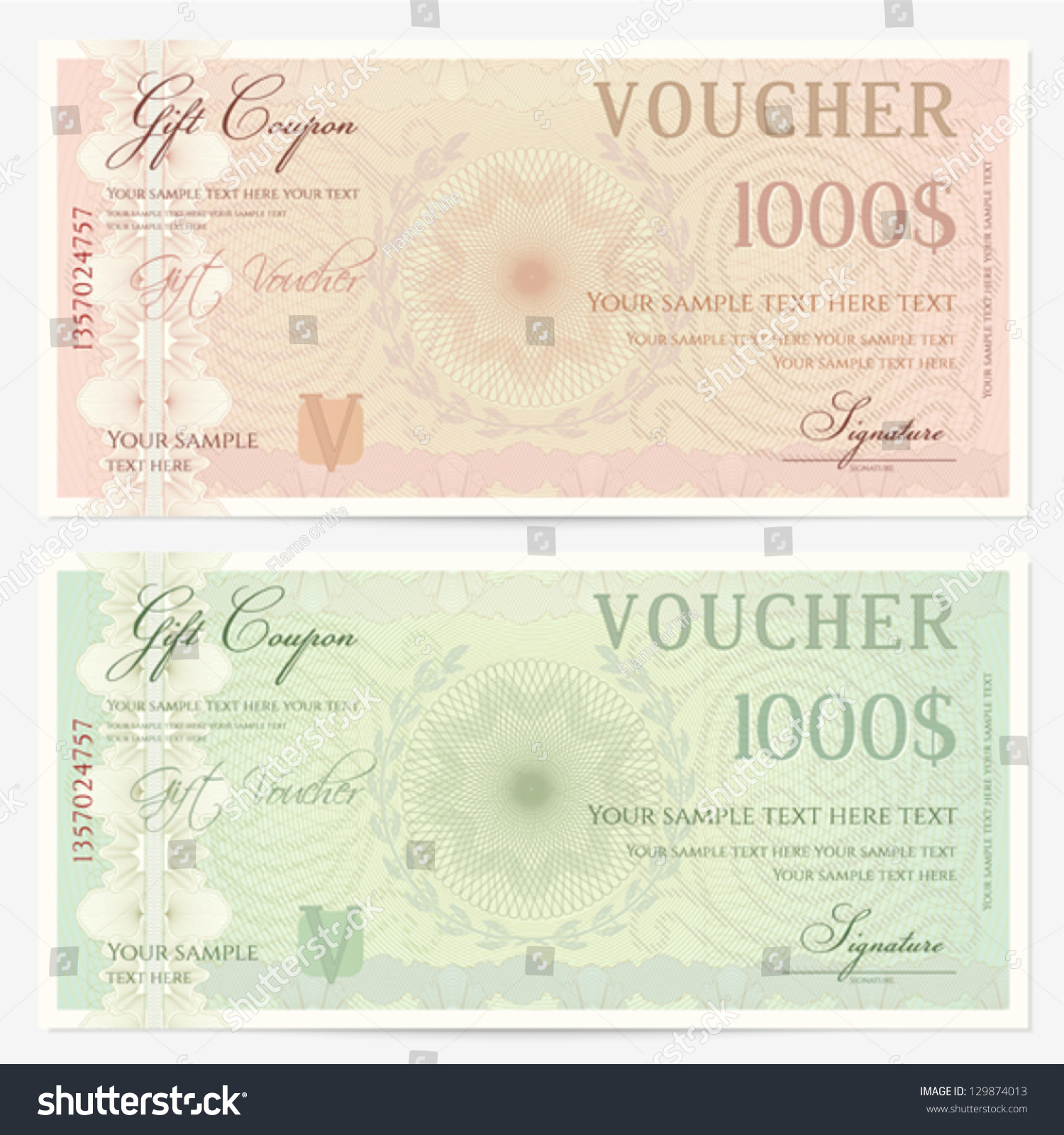 cheque voucher template - voucher template guilloche pattern watermarks border stock
