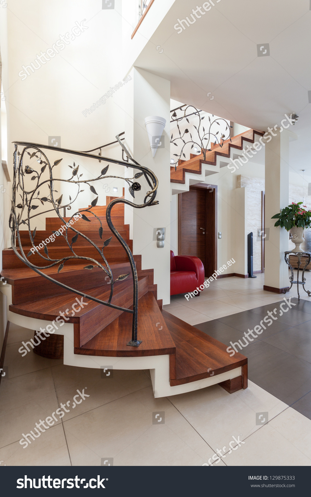 Villa living room tv wall stairs and corridors - Classy House Metal Design Stairs Leading To Living Room
