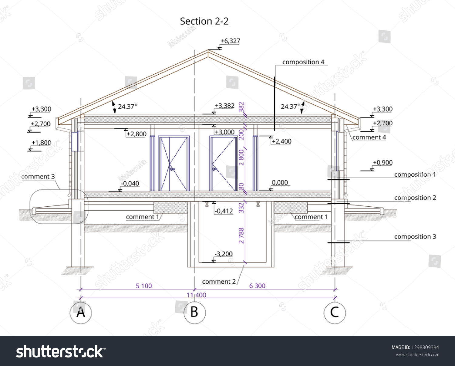 Architectural section of a one storey residential building