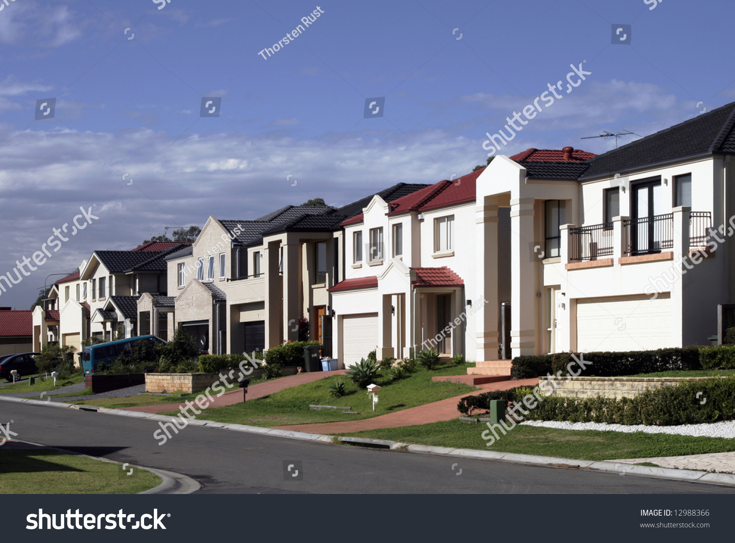 Suburban Street New Modern Houses Sydney Stock Photo 12988366 ... - ^