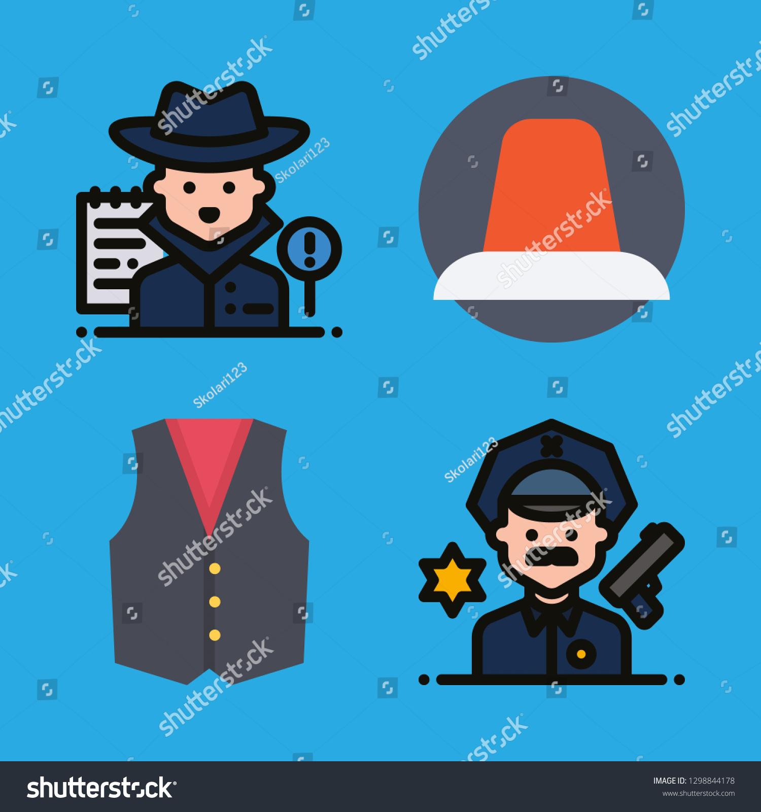9481c563cef Police Icons Set Siren Vest Policeman Stock Vector (Royalty Free ...