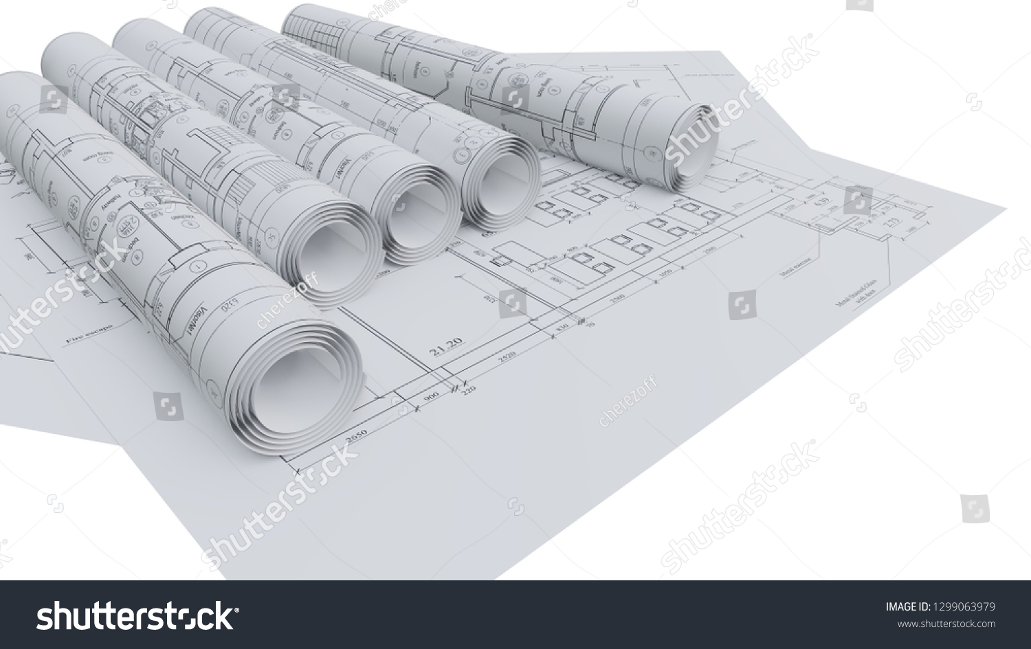 Architectural Drawings Flat Rolled 3 D Rendering Stock