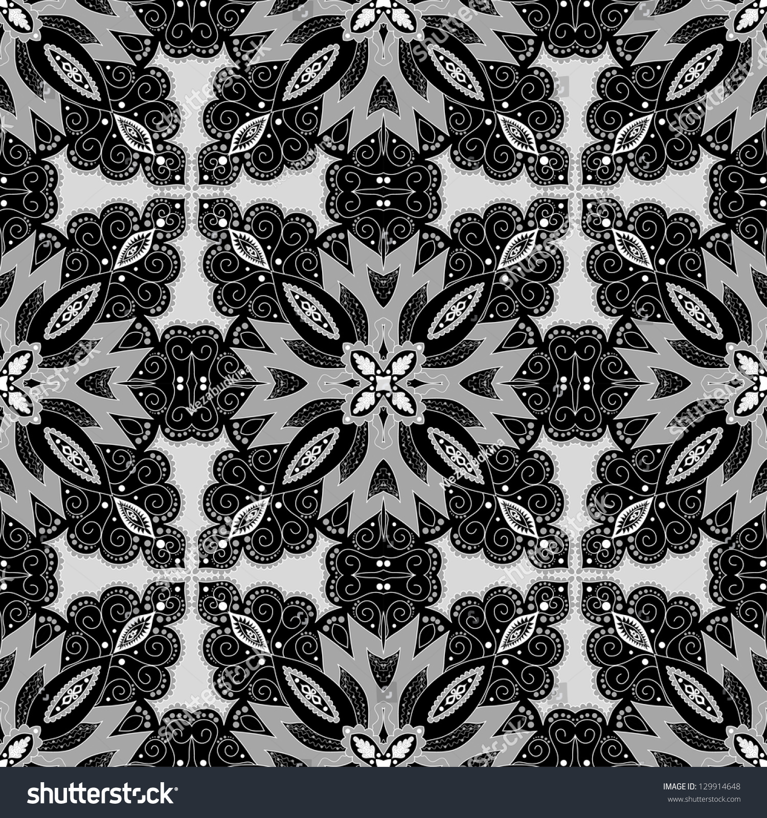Abstract Vector Seamless Pattern. Floral Damask Ornament ...