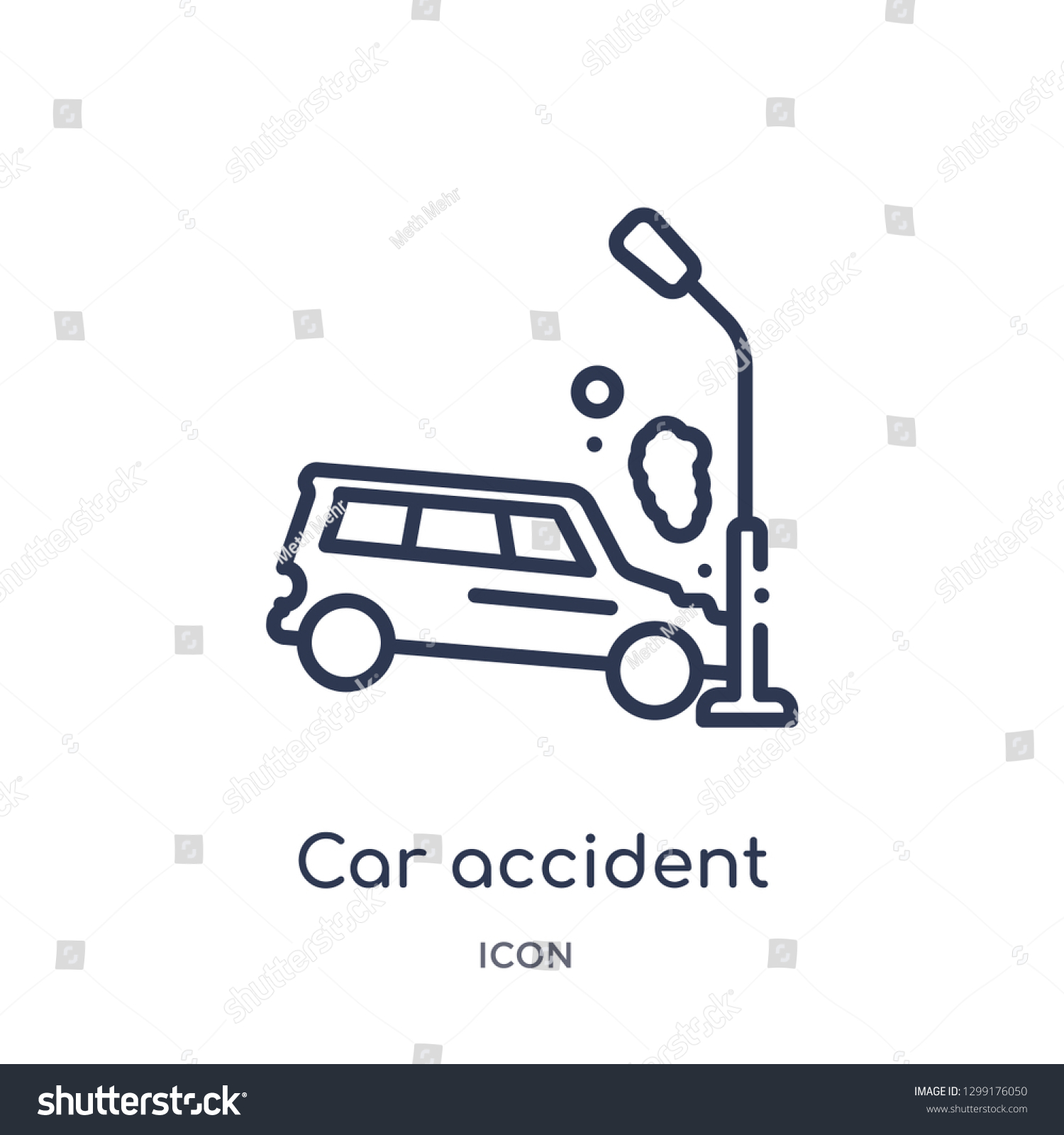 Linear Car Accident Icon Insurance Outline Stock Vector Royalty