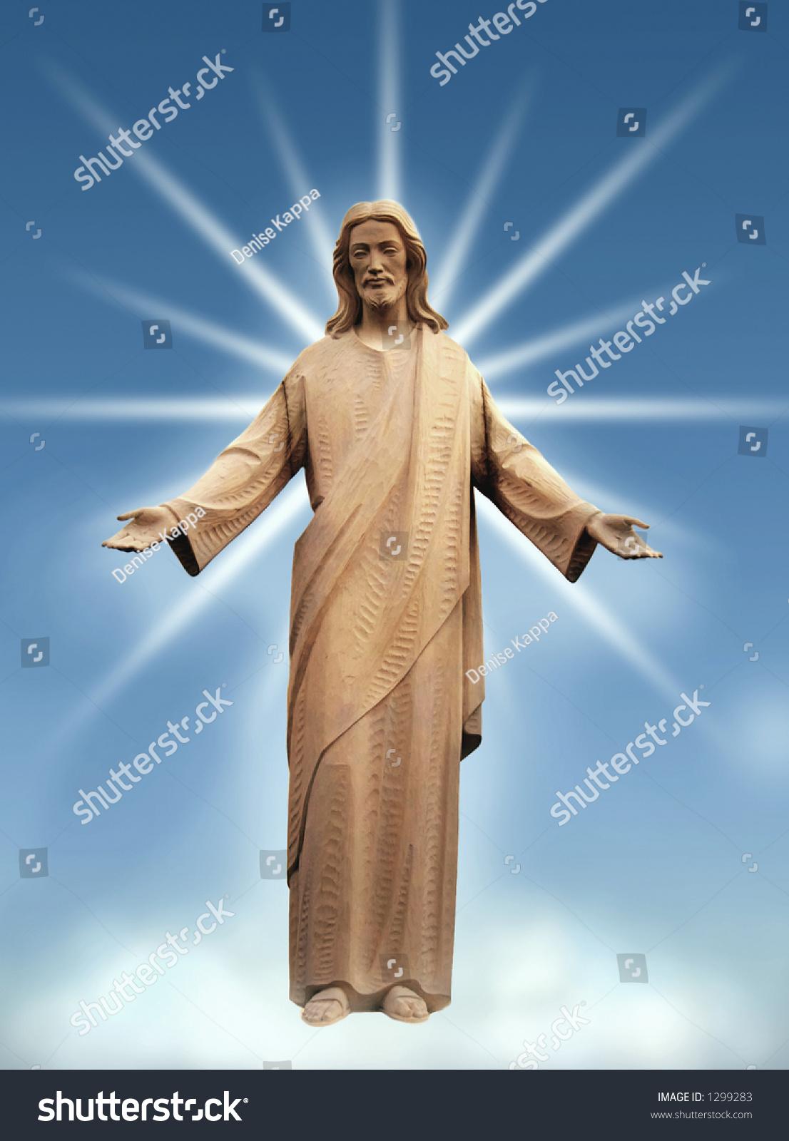 Jesus God Beaming Down His Graces Stock Photo 1299283