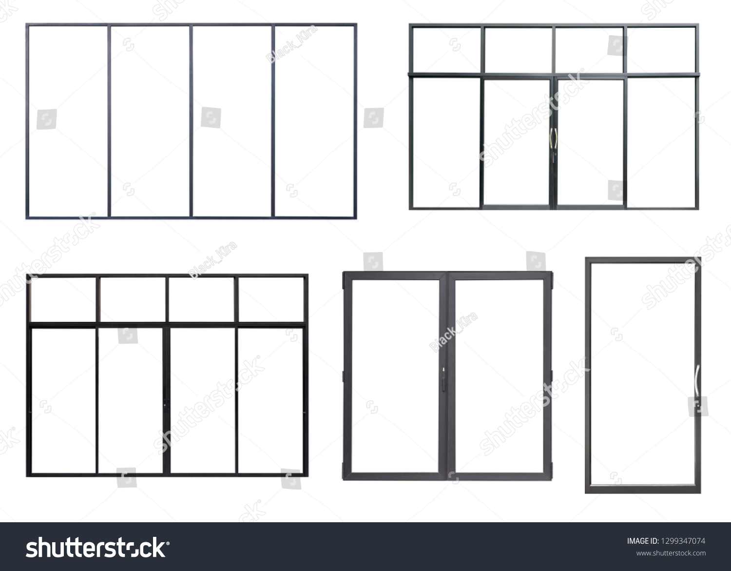 03197a39e411 Real Black Modern Windows Set Isolated Stock Photo (Edit Now ...