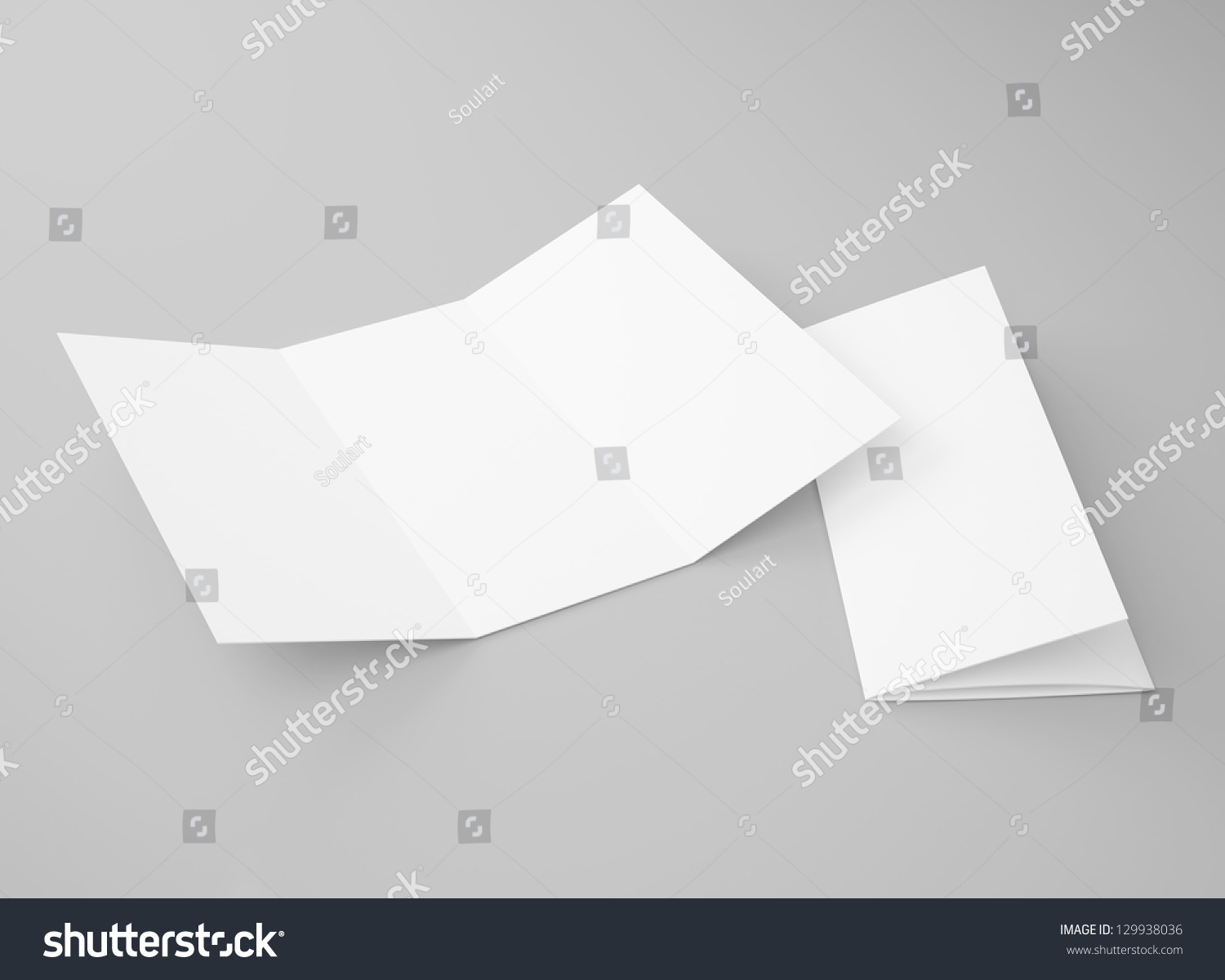 blank tri fold brochure zigzag folded flyer stock illustration
