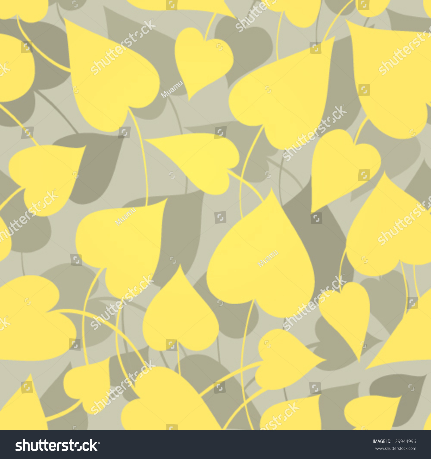 Floral wallpaper yellow leafs on gray stock vector 129944996 shutterstock - Gray and yellow wallpaper ...