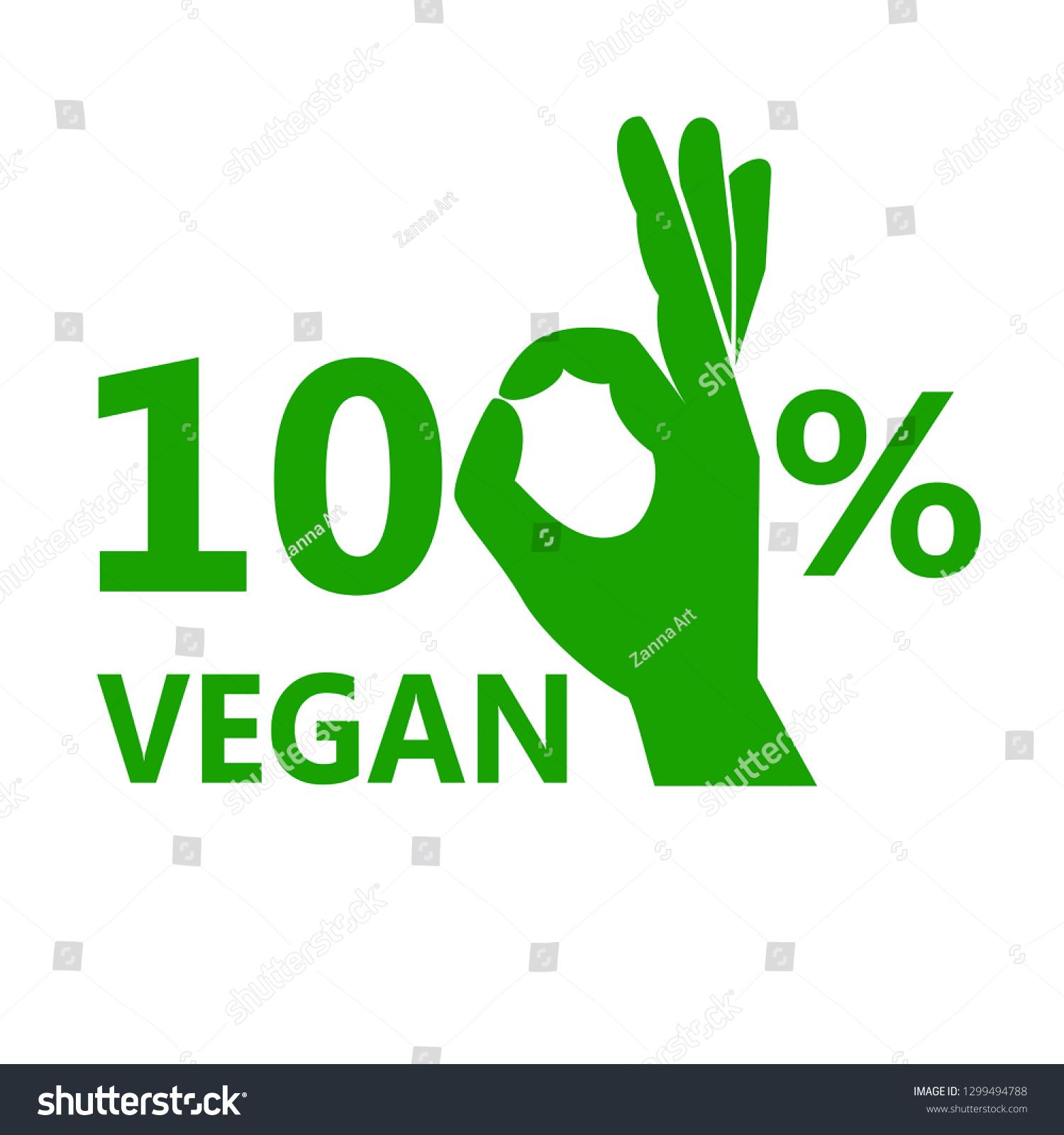 100 Vegan Vector Icon Stock Vector (Royalty Free) 1299494788