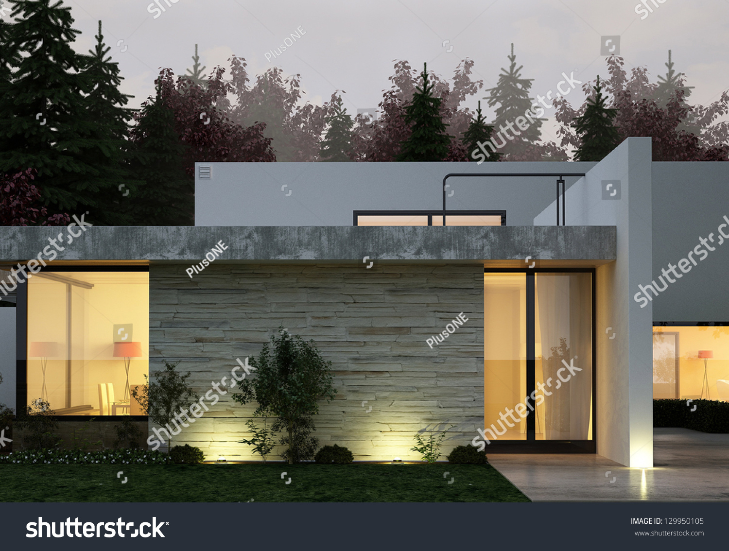 A 3d rendering of modern house facade at night stock photo for Modern house at night