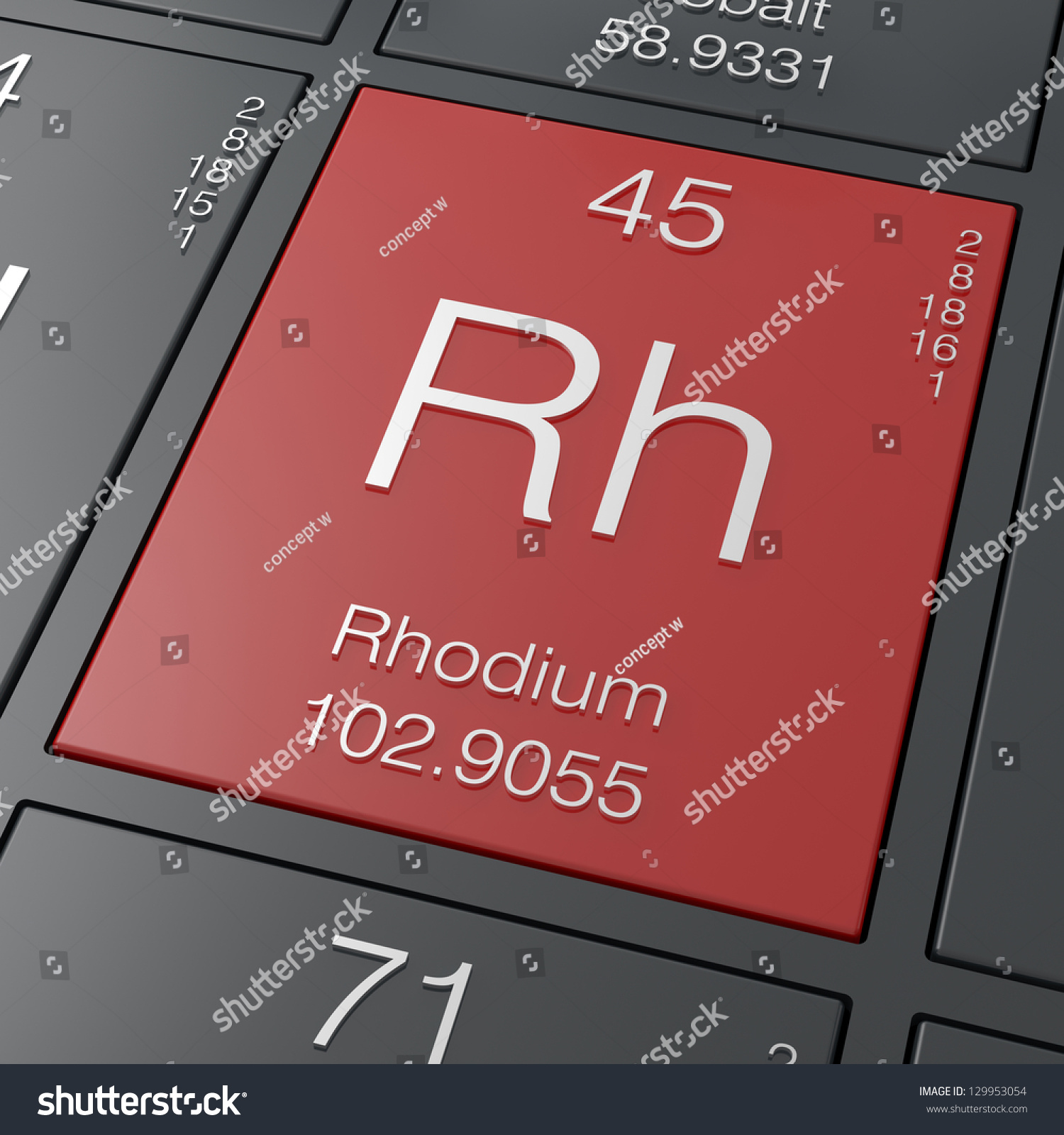 Rhodium element periodic table stock illustration 129953054 rhodium element from periodic table gamestrikefo Image collections