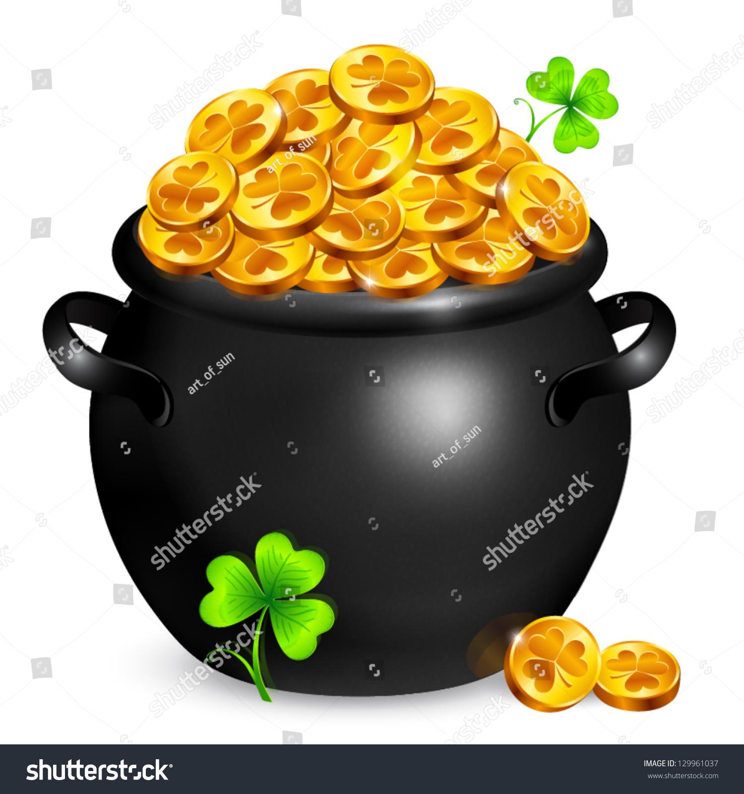 black vector pot leprechauns gold lucky stock vector