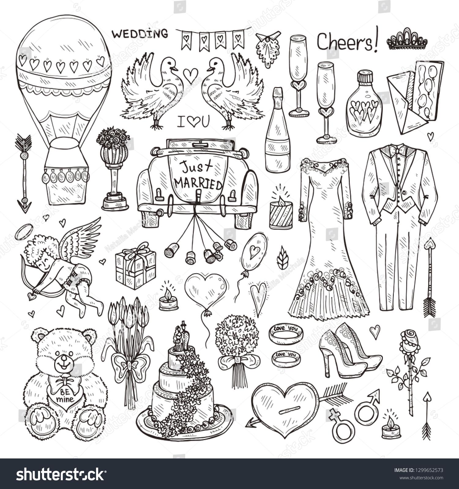 Set Cute Hand Drawn Wedding Icons Stock Vector (Royalty Free) 1299652573
