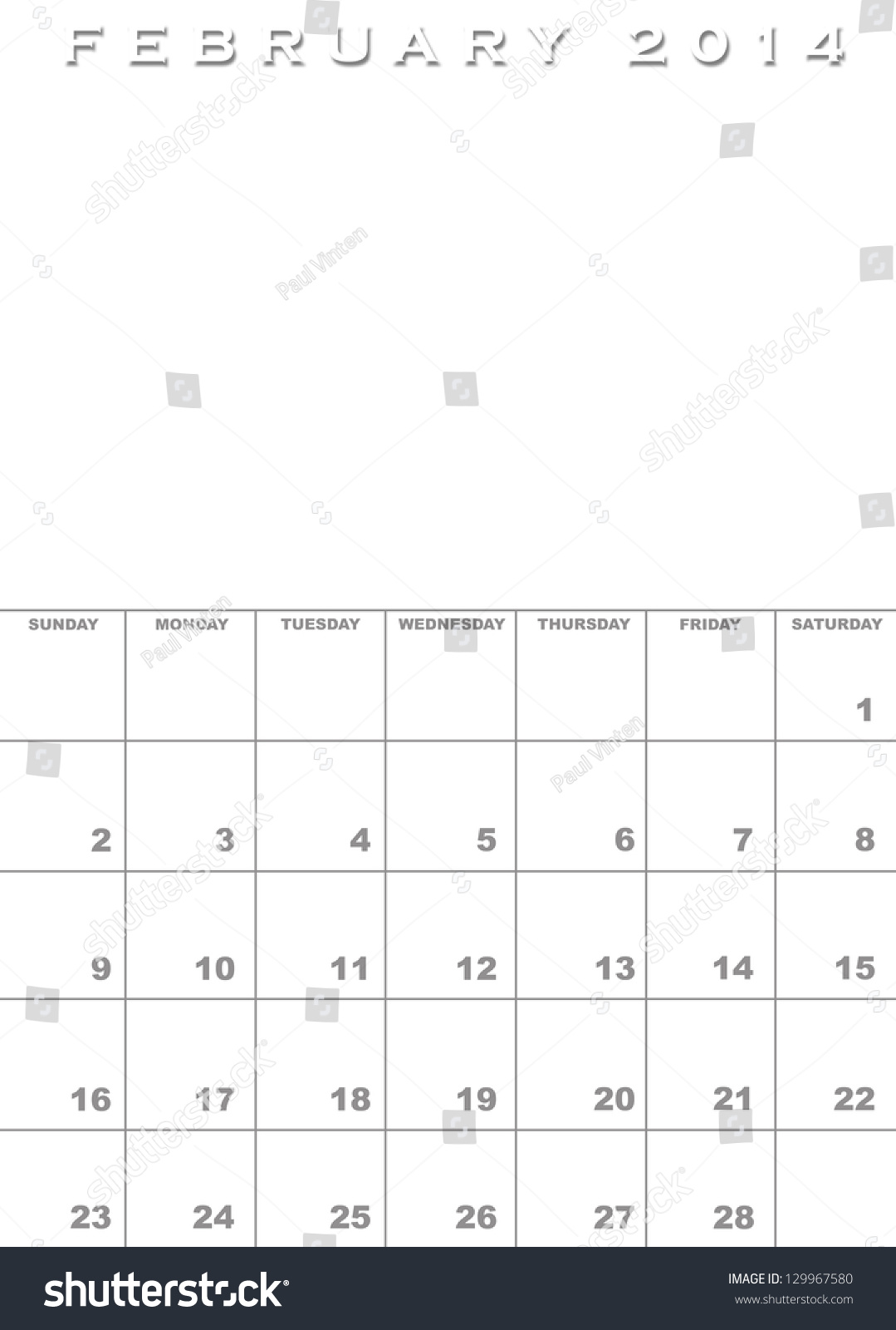 Month February 2014 Calendar Template Background Stock Illustration