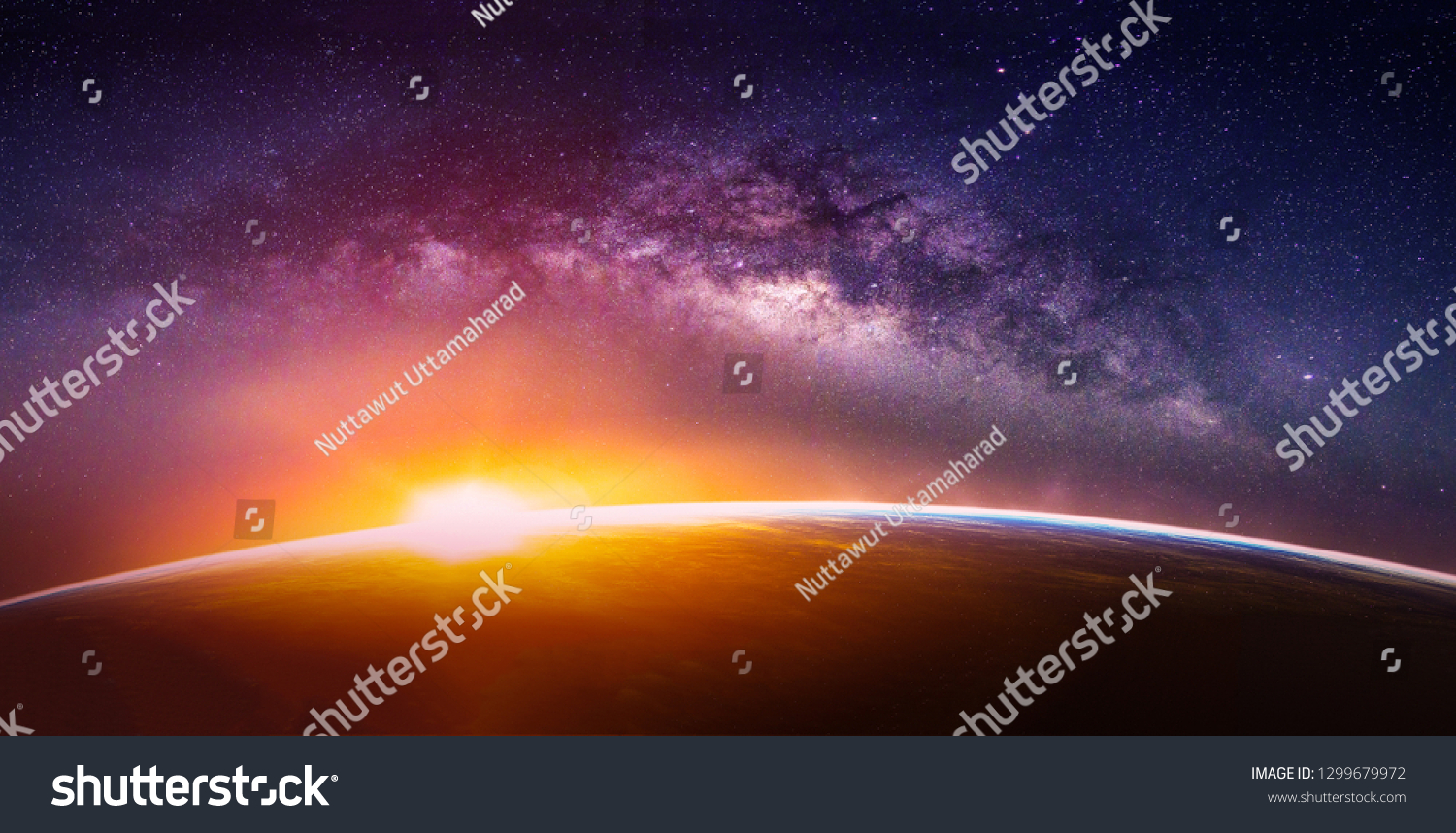 Landscape with Milky way galaxy. Sunrise and Earth view from space with Milky way galaxy. (Elements of this image furnished by NASA) #1299679972