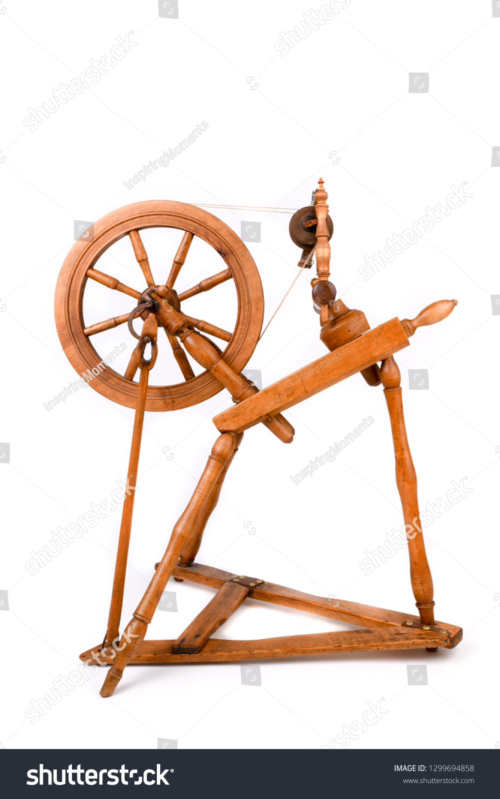 Old Spinning Wheel Isolated On White Stock Photo Edit Now 1299694858