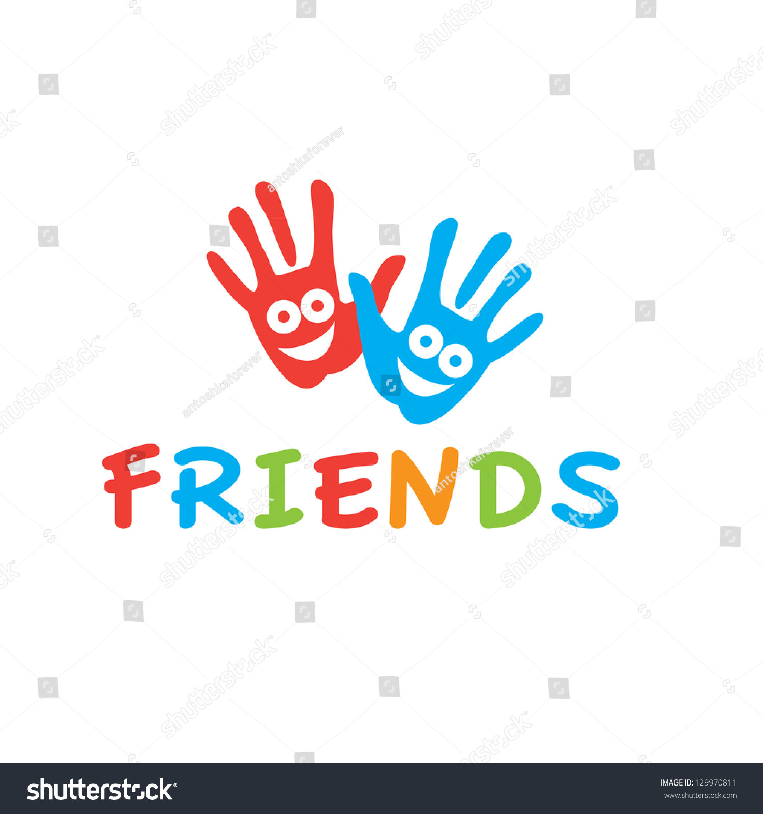 sign friends vector symbol friendship smiling stock vector