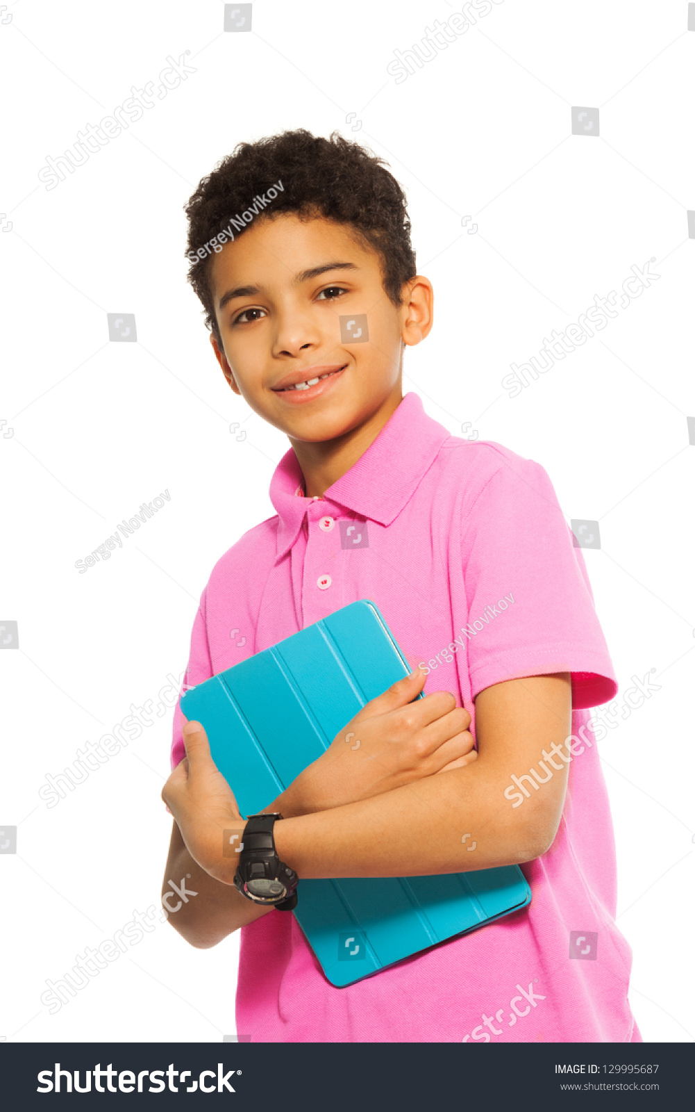 10 Cute Guys With Blonde Hair: Cute 10 Years Old Black Boy Standing With Tablet Computer