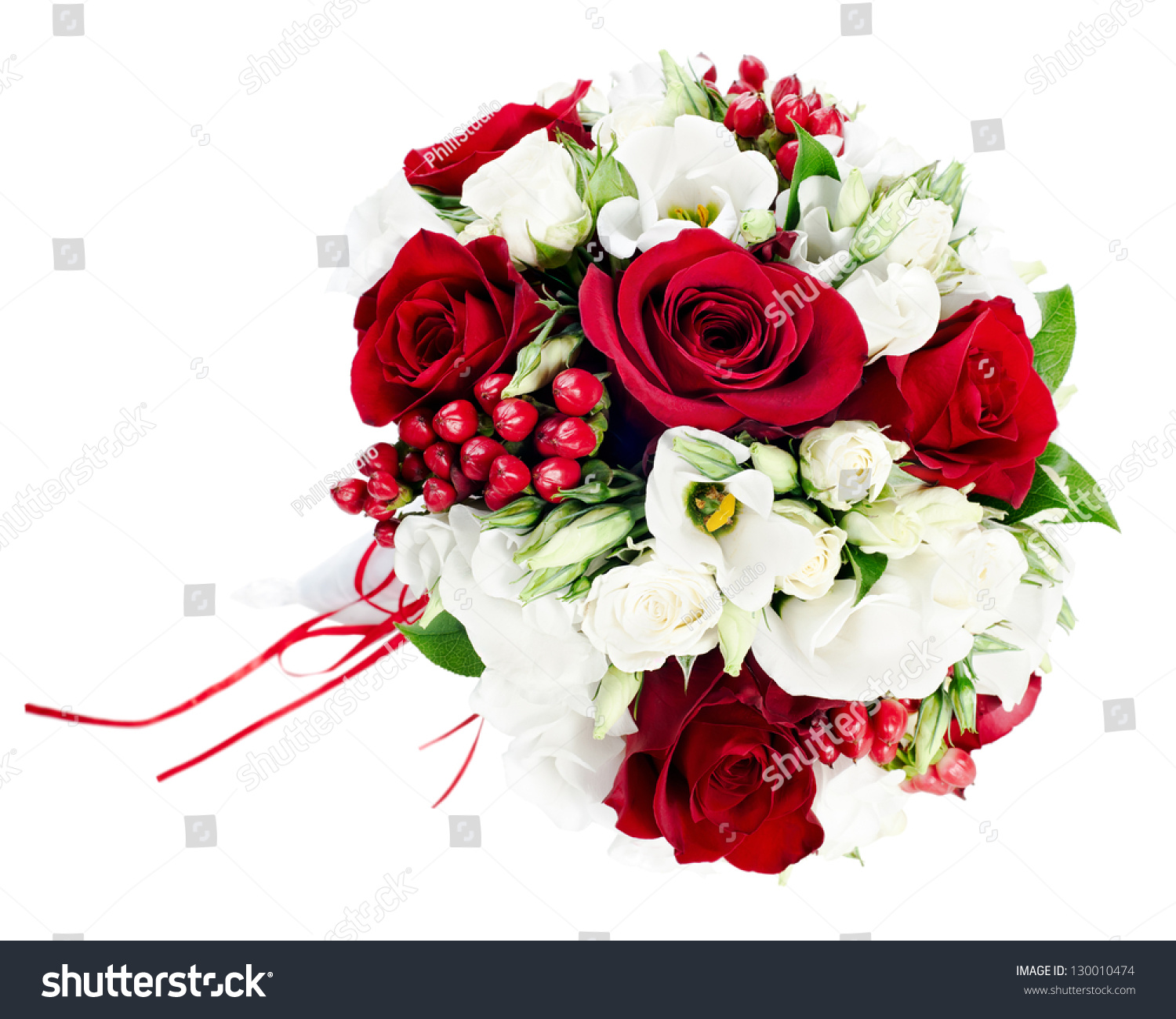 Flower Wedding Bouquet White Red Roses Stock Photo Edit Now