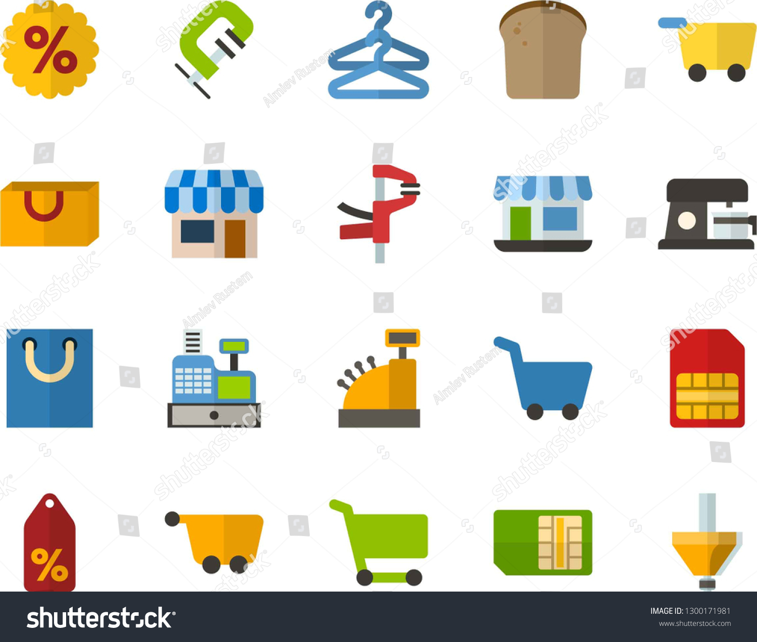 Color Flat Icon Set Basket Flat Stock Vector (Royalty Free