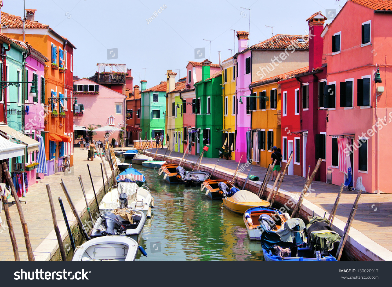 Colorful burano italy burano tourism - Colorful Canal Scene In Burano Venice Italy