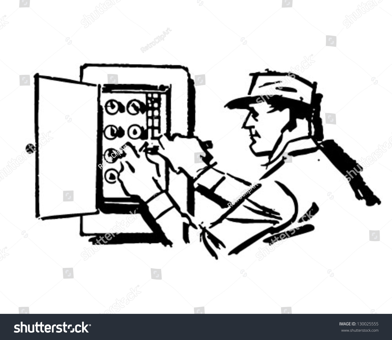Electrician Work Retro Clip Art Illustration Stock Vektorgrafik
