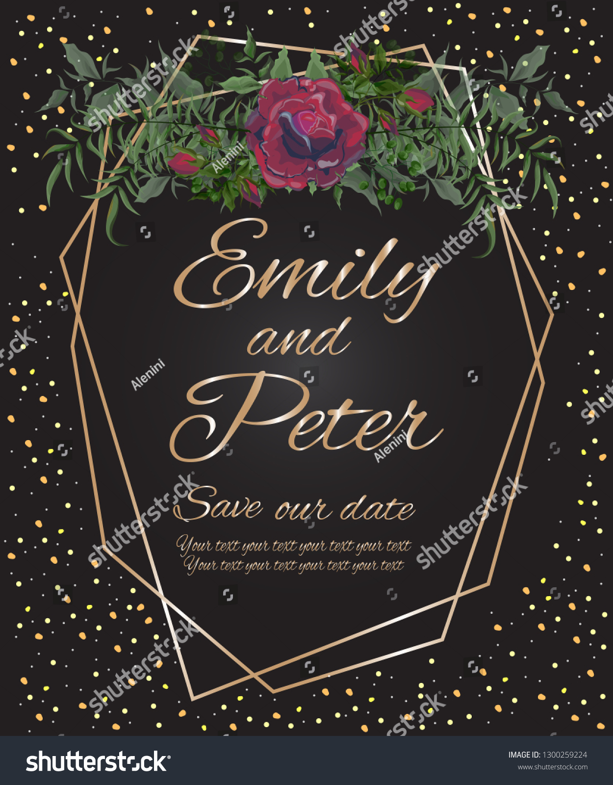 Vector Template Wedding Invitation Black Background Stock Vector (Royalty  Free) 1300259224
