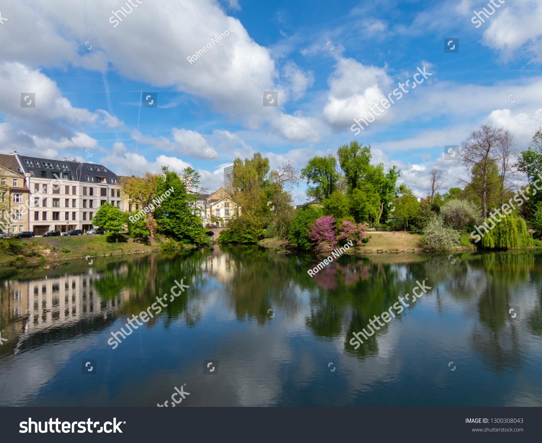 Lake in city park