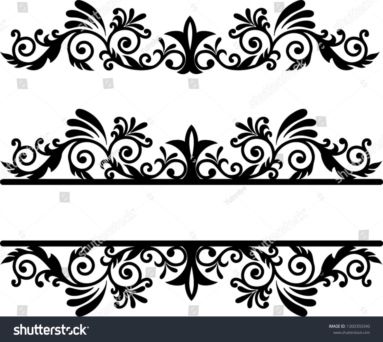 Split Monogram frame Vector Card Invitation Elements Victorian Grunge Calligraphy Wedding Invitations Set Medieval Ornament Borders scroll clipart swirl cut ...