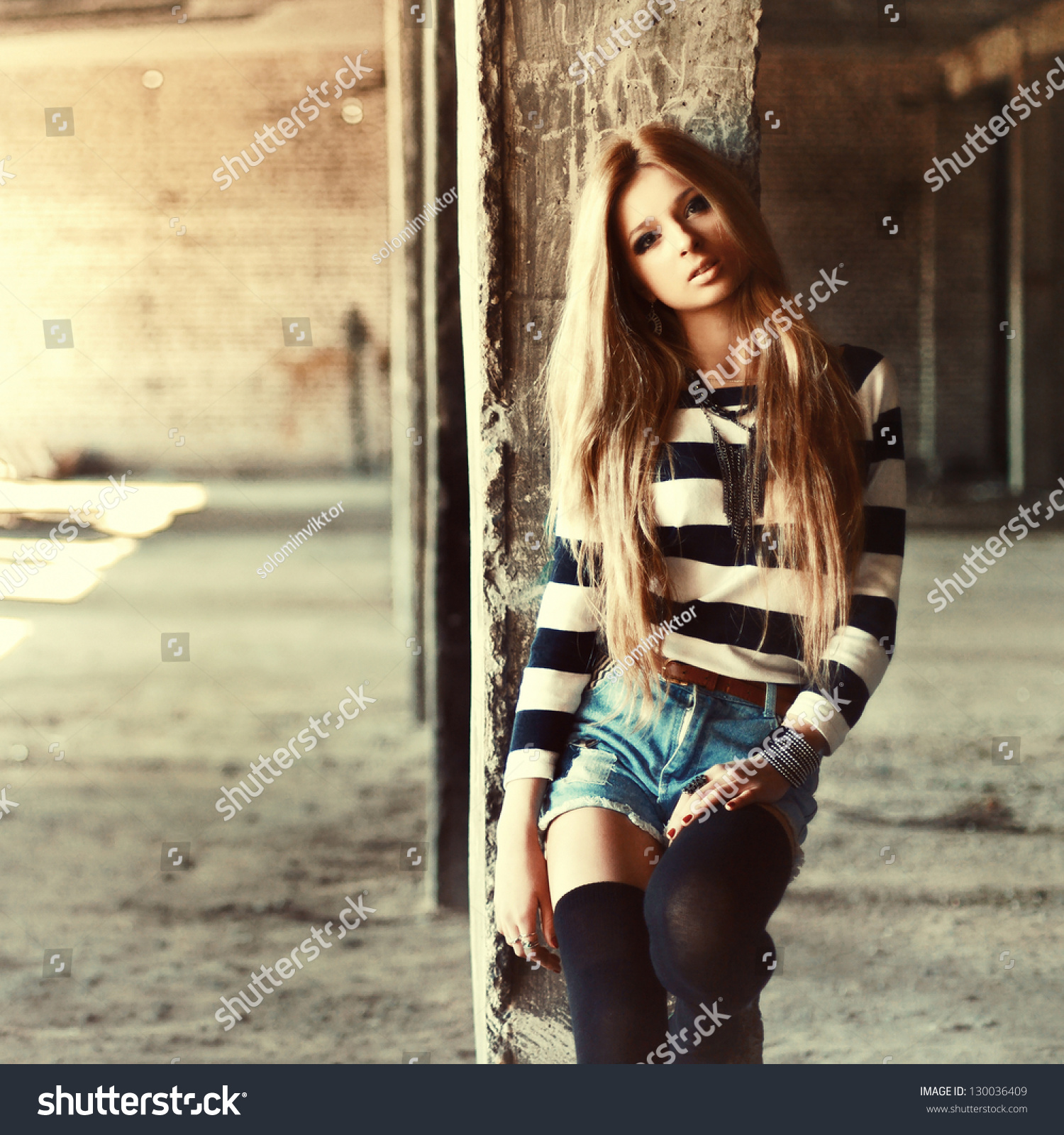 Outdoor Summer Portrait Young Pretty Cute Stock Photo