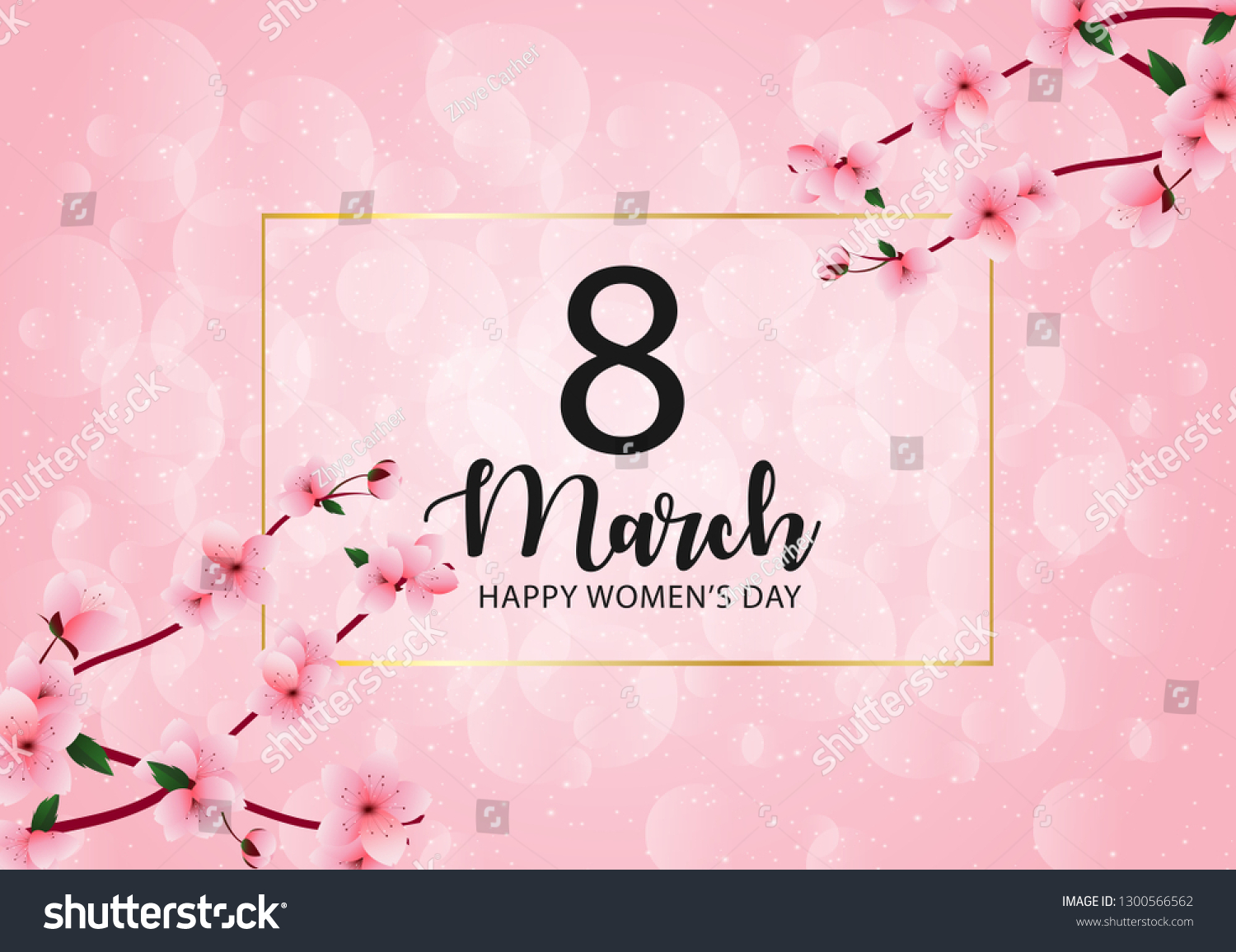 8 march international women's day background with cherry blossoms
