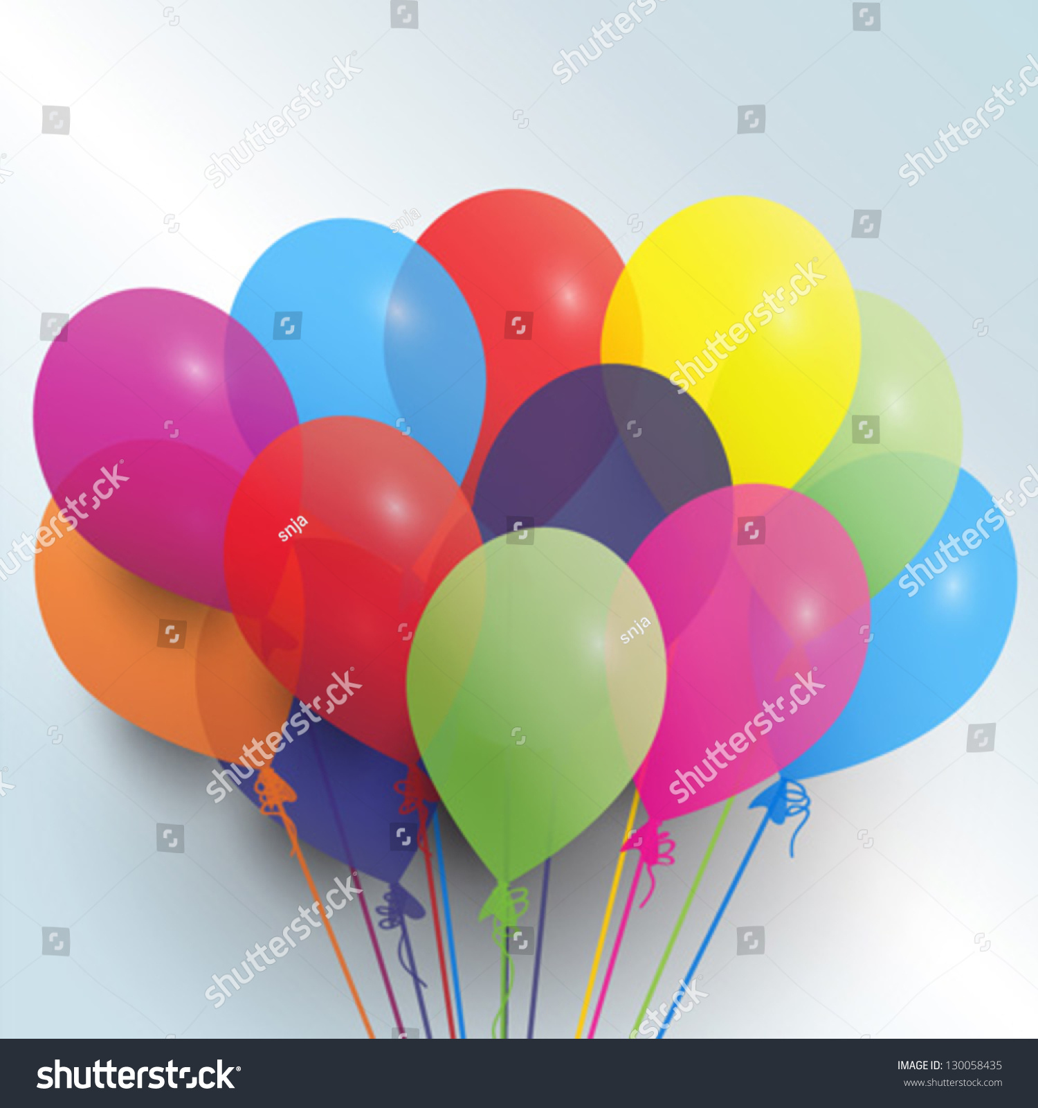 Birthday Balloons Vector Card