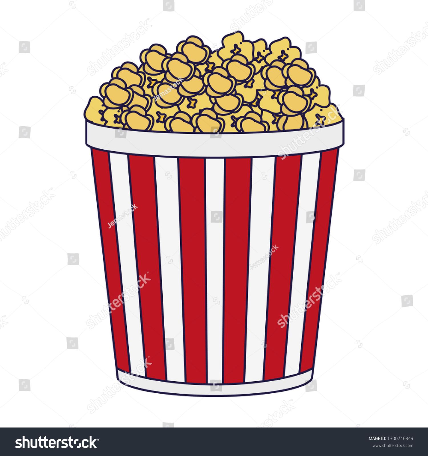 Pop Corn Bucket Snack Blue Lines Stock Vector Royalty Free 1300746349