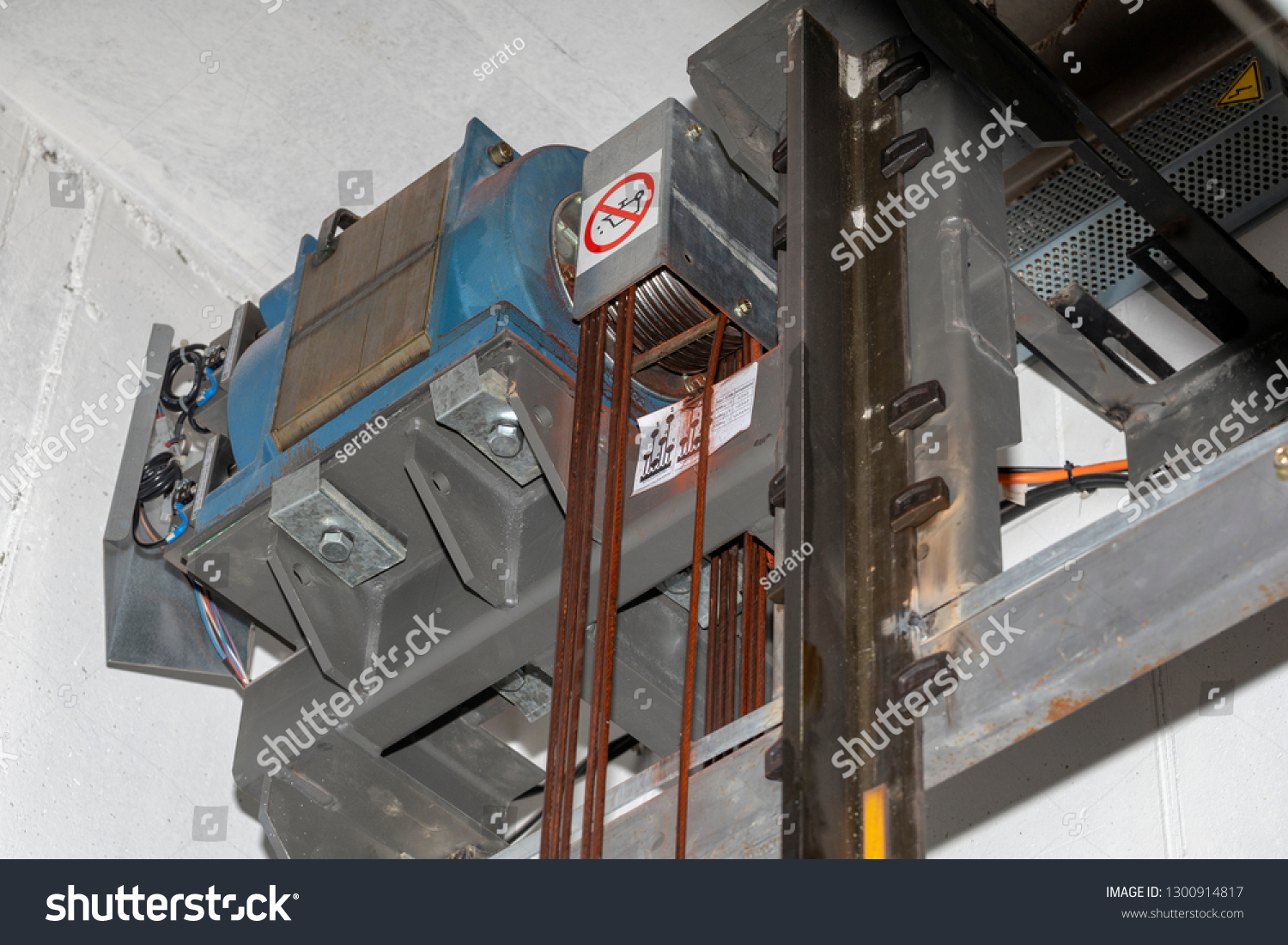 Elevator Engine Damaged Special Cables Steel Stock Photo