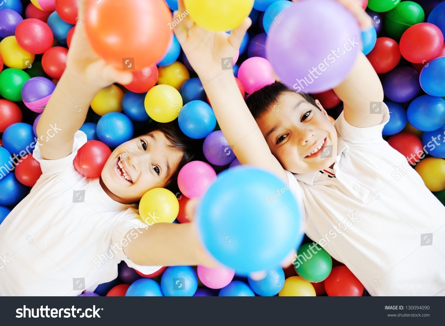 Happy Children Playing Together Having Fun Stock Photo ...