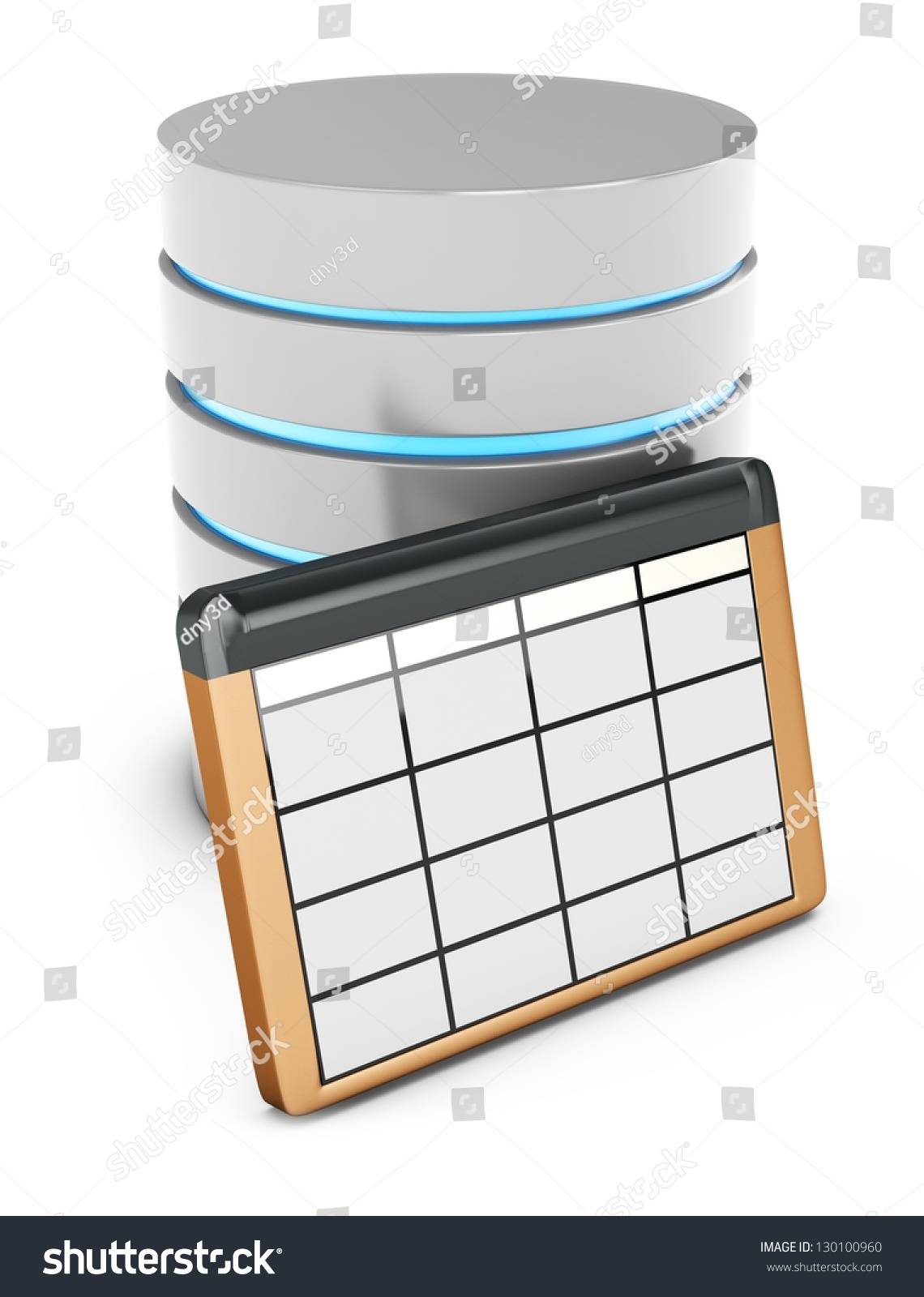 3d database table on white background stock photo for Table data in html