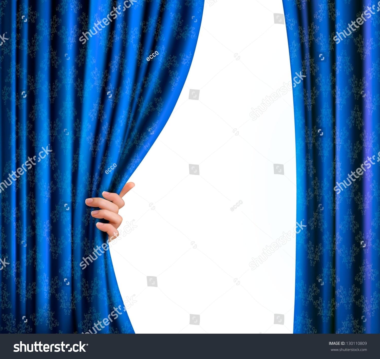 background blue velvet curtain hand background stock