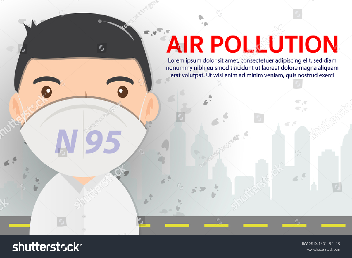 Air Pollution Concept Man Wearing N95 Stock Vector (Royalty