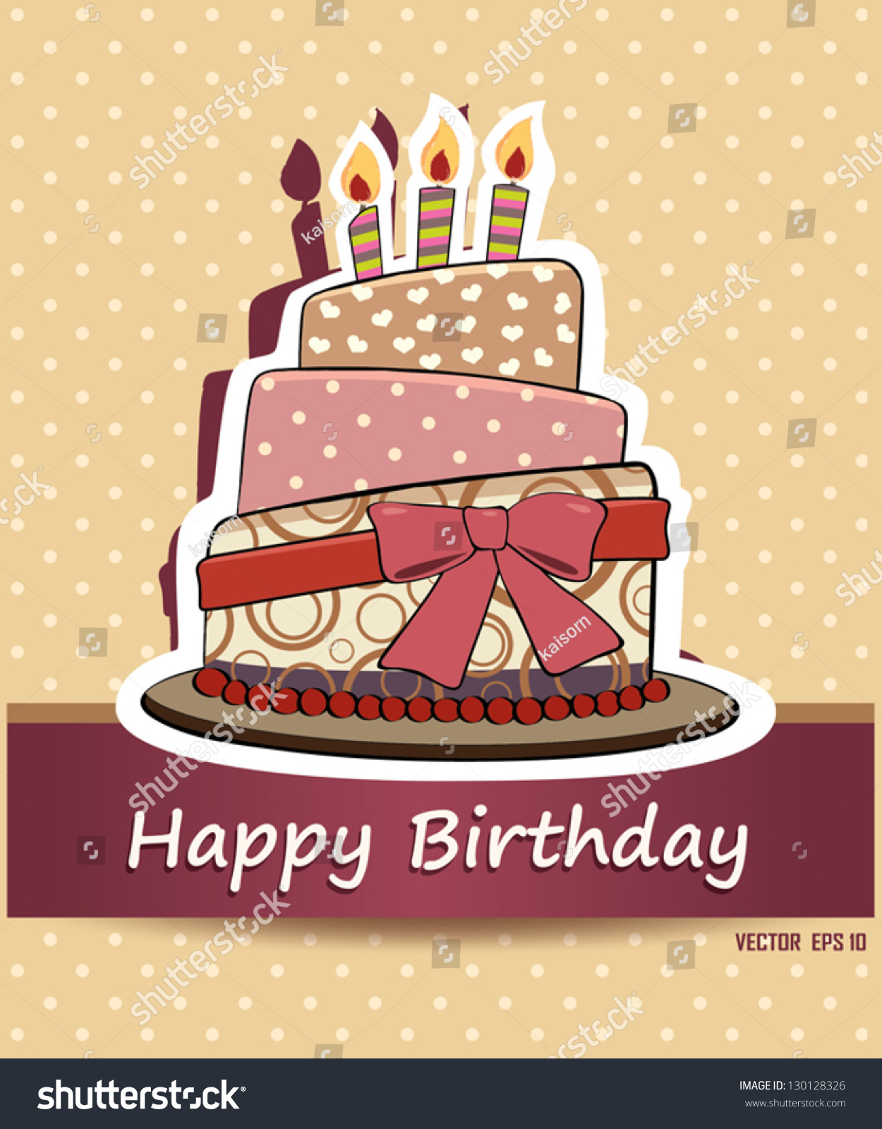 Vector Happy Birthday Card Birthday Cake Stock Vector 130128326
