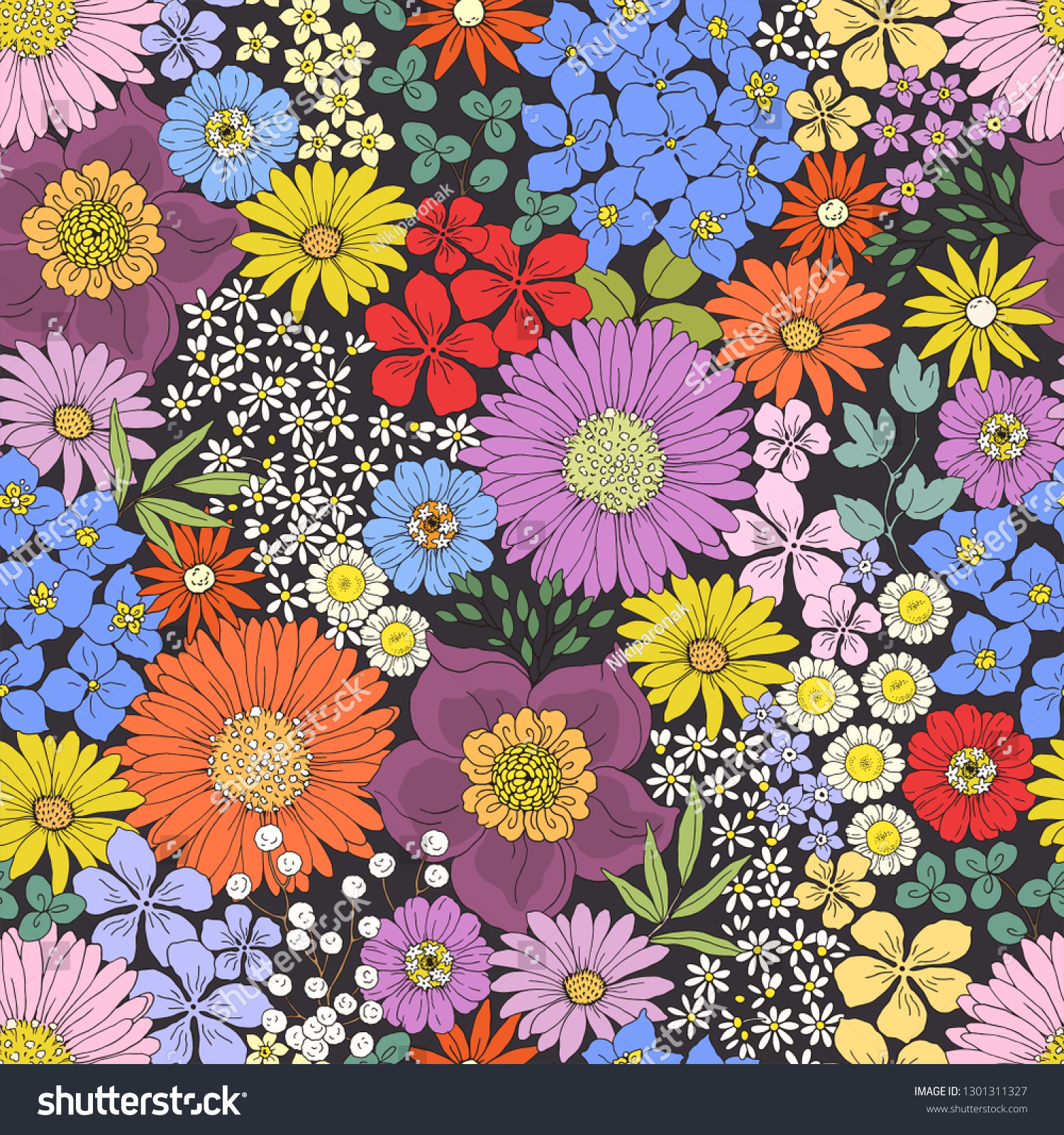 Seamless Floral Pattern Colorful Flowers On Stock Image Download Now