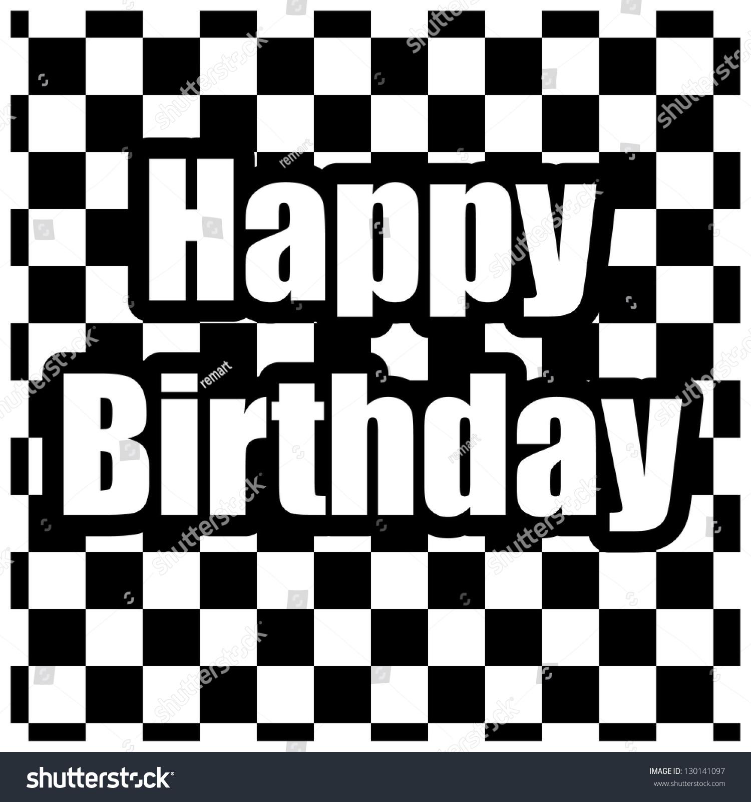 Black White Happy Birthday Card Vector 130141097 Shutterstock – Black and White Birthday Card