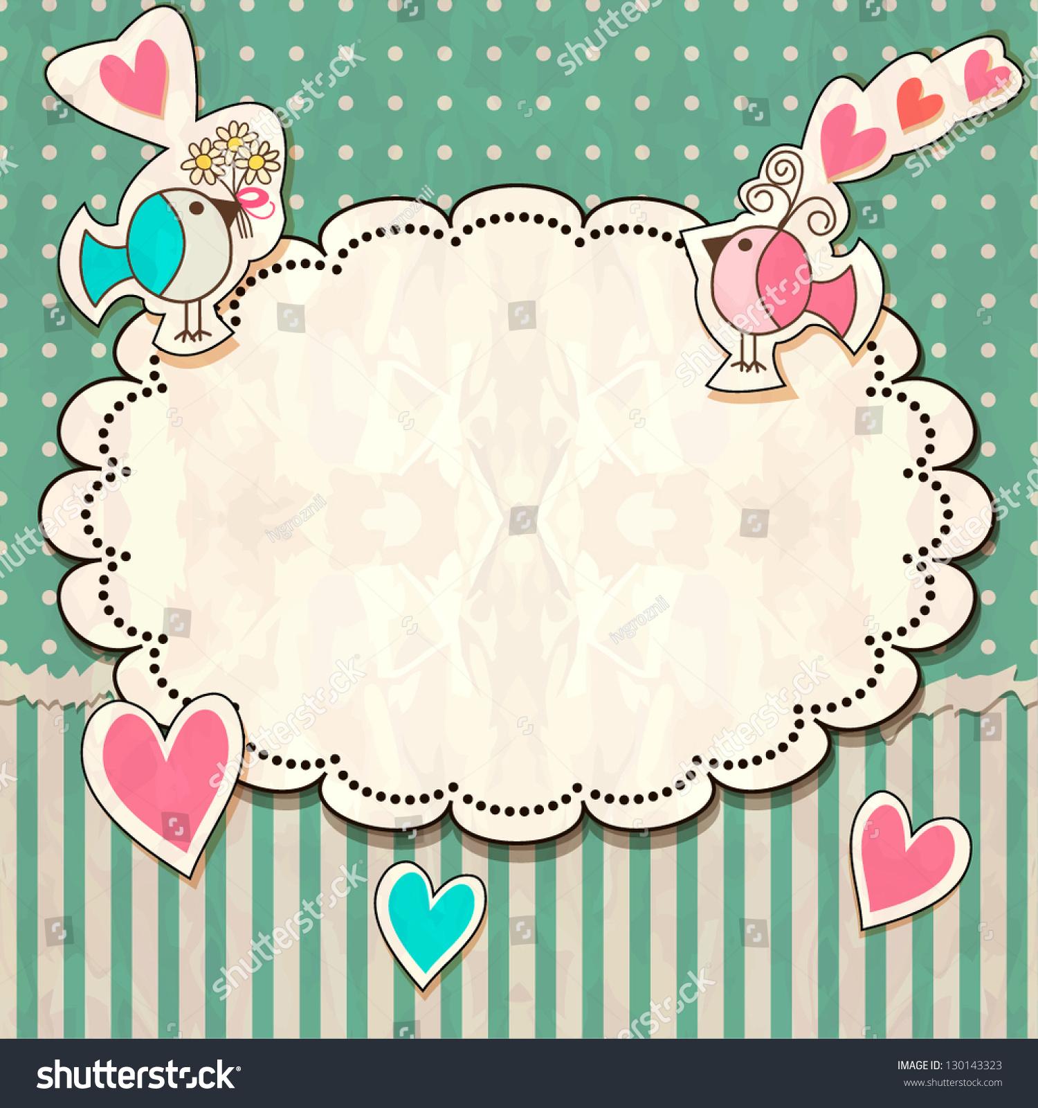 scrap vintage template hearts birds stock vector royalty free