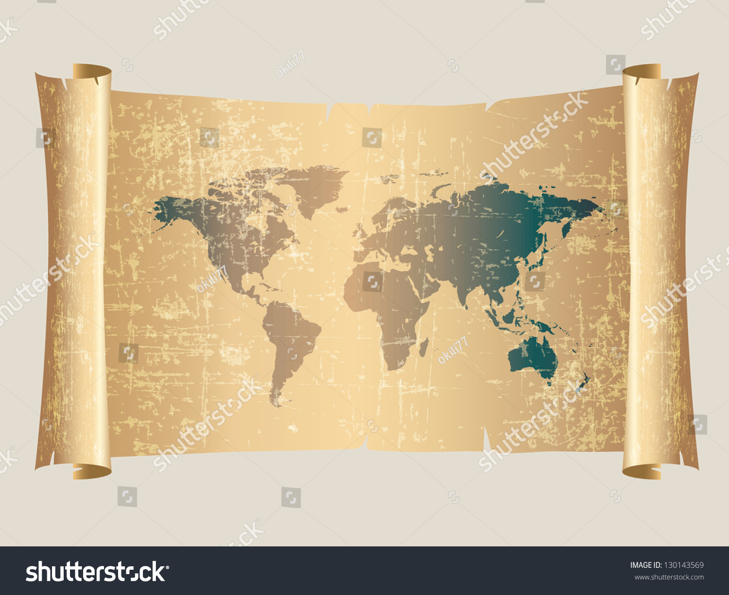 World map vintage style on scroll stock vector 130143569 world map vintage style on scroll parchment gumiabroncs Gallery