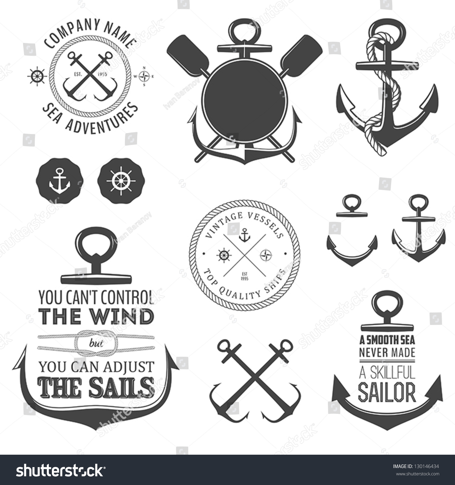 Key Elements Of Nautical Style: Set Vintage Nautical Labels Icons Design Stock Vector