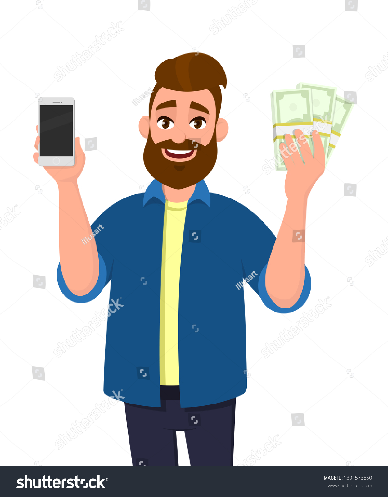 Happy Young Man Showing Holding Mobile Stock Vector (Royalty