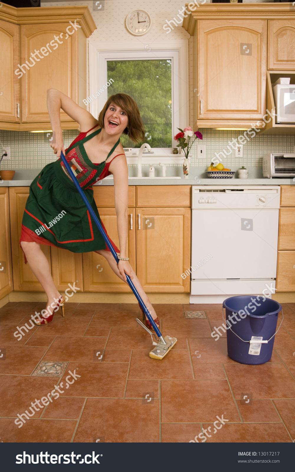 Mopping Kitchen Floor Happy Woman Mopping Floor Stock Photo 13017217 Shutterstock