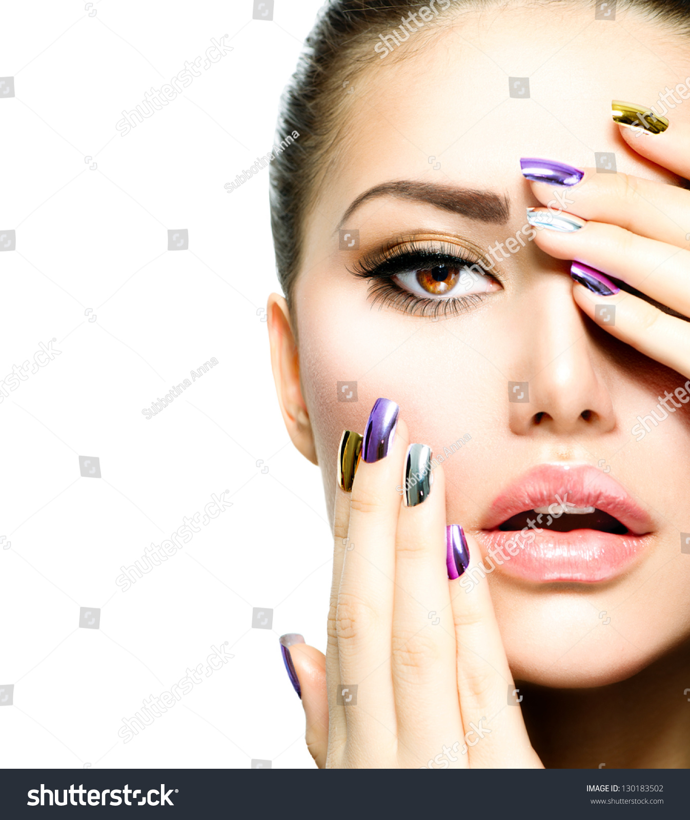 Fashion Nail Salon And Beauty Spa Games For Girls: Royalty-free Beautiful Fashion Girl's Face. Makeup