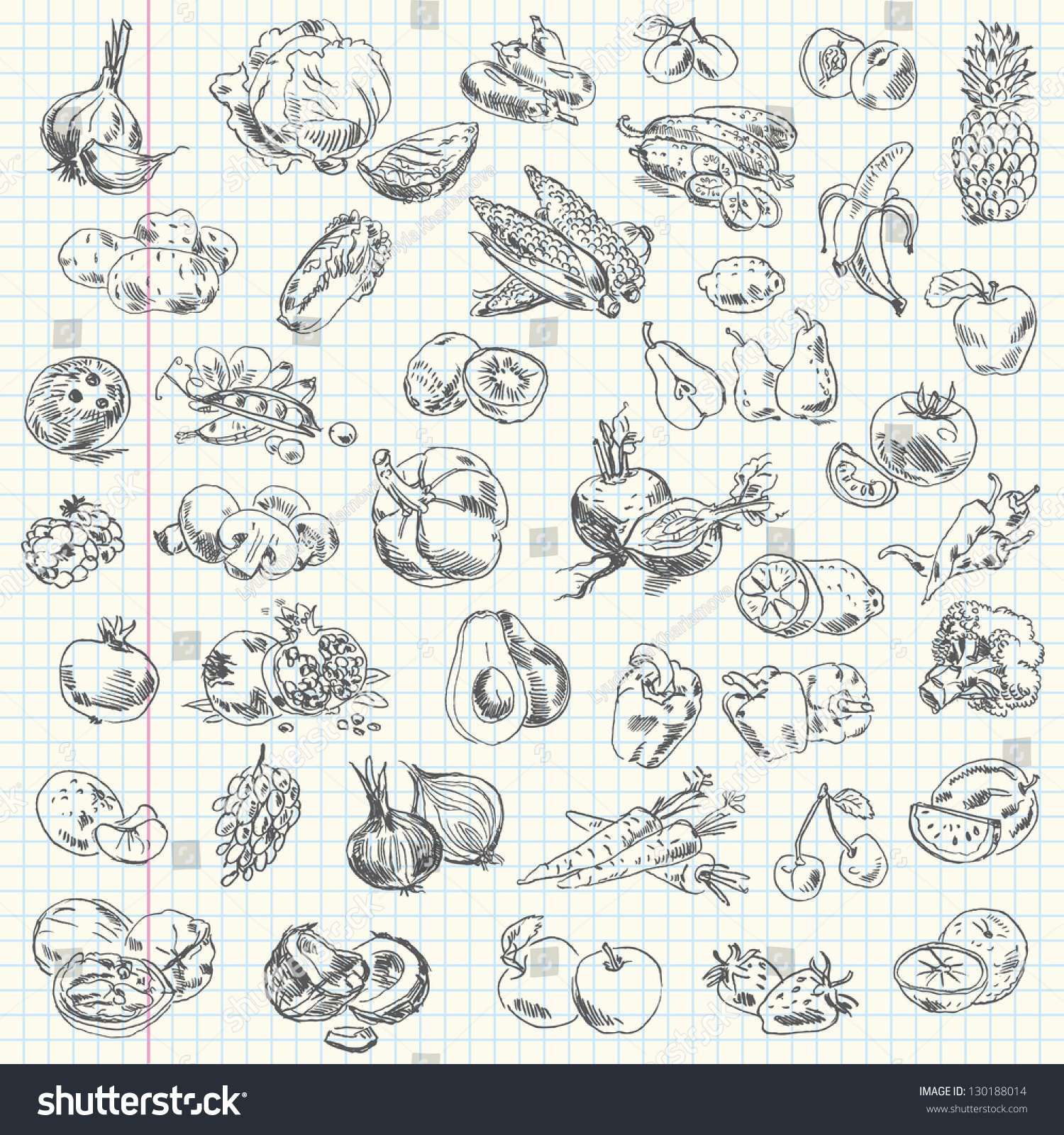 freehand drawing fruit vegetables on sheet stock vector 130188014