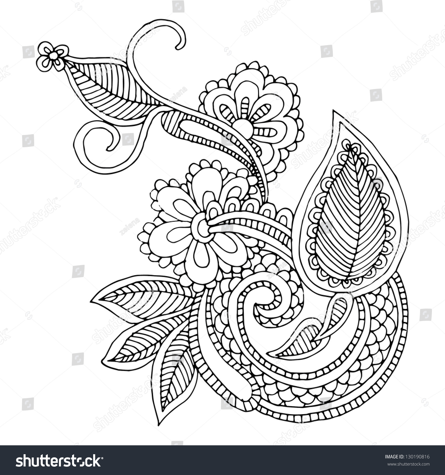 Neckline Drawing : Neckline embroidery design floral ornamented pattern stock